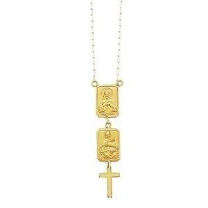 Colar Escapulário Ouro 18K Unissex Medalhas Mini K260