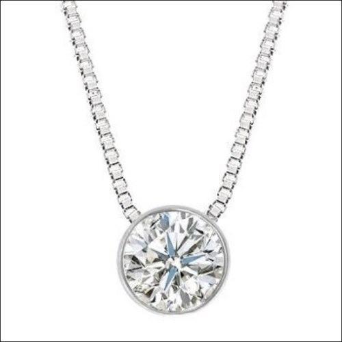 Colar Ponto De Luz Diamante Brilhante 25 Pts Ouro Branco 18K K500