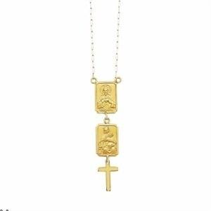 Colar Religioso Escapulário Ouro 18K Unissex Tamanho Grande