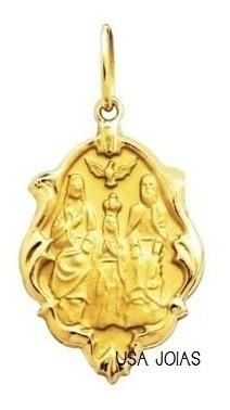 Medalha Divino Pai Eterno Em Ouro Ornato 18K Pequena K070