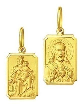 Medalha Escapulário Retangular G 1,90Cm Ouro 18K K280