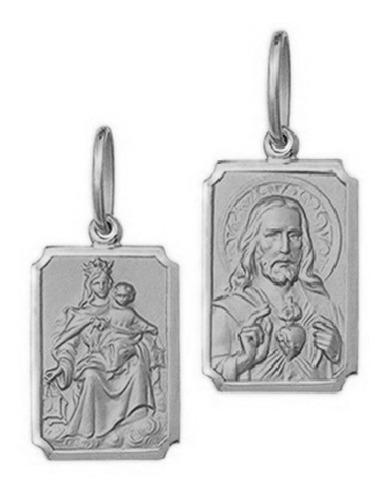 Medalha Escapulário Retangular Mini 0,95cm Ouro Branco 18k