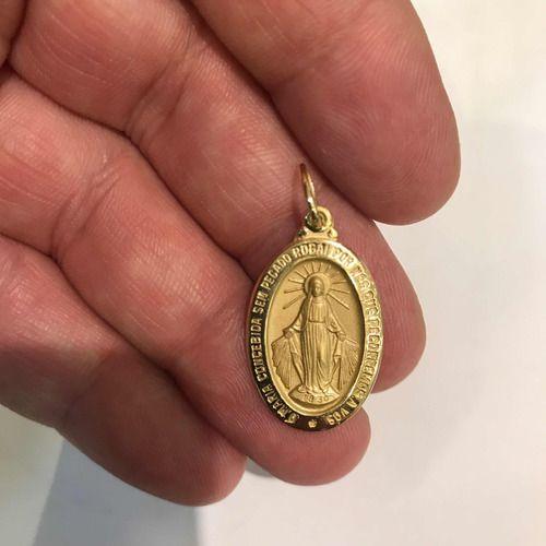Medalha Milagrosa Nossa Senhora Das Graças Ouro 18K