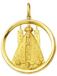 Medalha Pingente Ouro 18k 1,7cm Nossa Senhora Aparecida K130