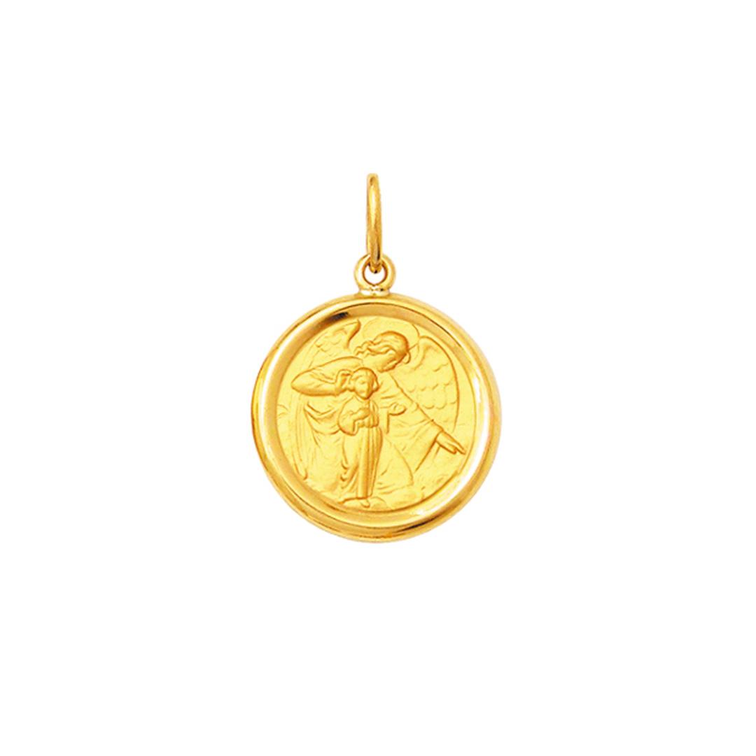 Medalha Pingente Ouro 18k Redondo Médio 1,7cm forrado Todos os Santos Religiosos k200