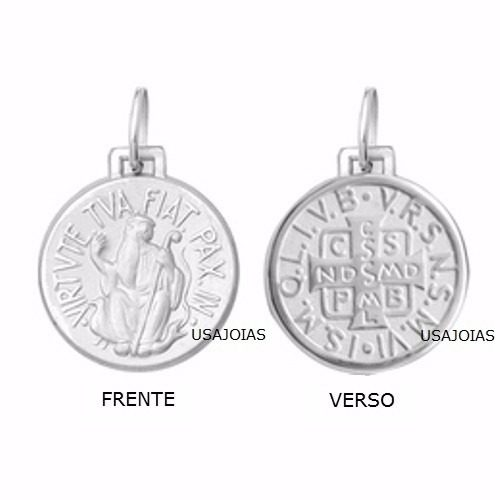 Medalha São Bento Dupla Face Original 11 Milimetros Ouro Branco 18K K120