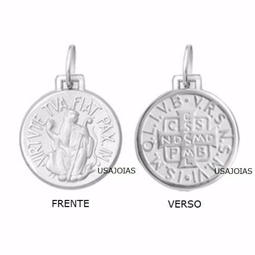 Medalha São Bento Dupla Face Original 34 Milimetros Ouro Branco 18K K880