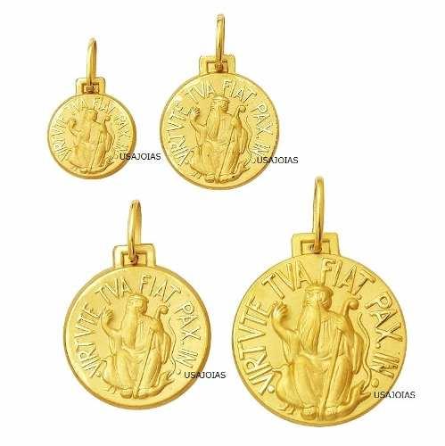 Medalha São Bento Dupla Face Tradicional 11 Milimetros Ouro 18K 750 K100