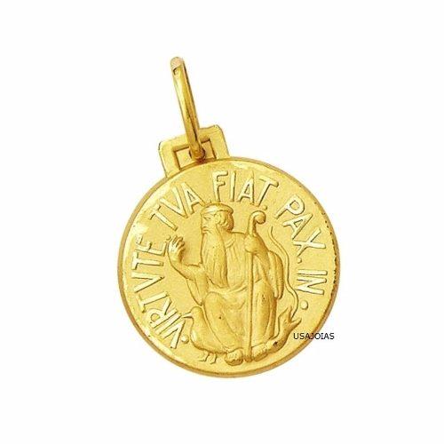 Medalha São Bento Dupla Face Tradicional 14 Milimetros Ouro 18K 750