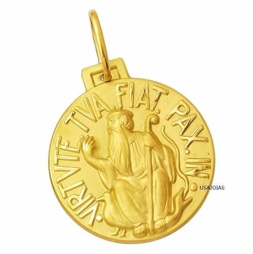 Medalha São Bento Dupla Face Tradicional 34 Milimetros Ouro 18K K800