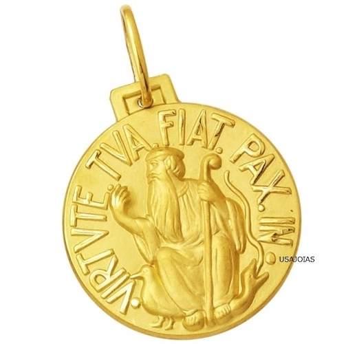 Medalha São Bento Dupla Face Tradicional 39 Milimetros Ouro 18K K1200
