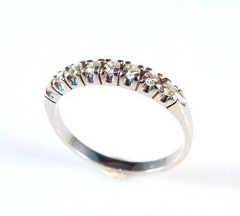 Aliança De Diamantes Brilhantes 0,48Ct Ouro Branco 18K 0020 K6,00