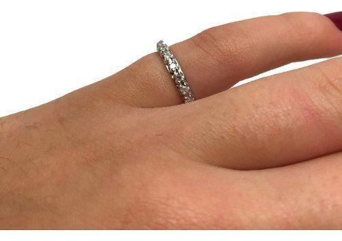 Aliança Diamantes Brilhantes 0,15Cts Ouro Branco 09549