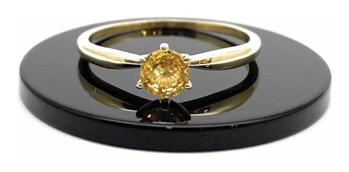 Anel Solitário Safira Amarela Natural 5mm Em Ouro 18k K590