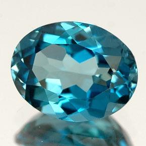 Pedra Lapidada London Blue Topázio Extra Oval 7mm X 9mm