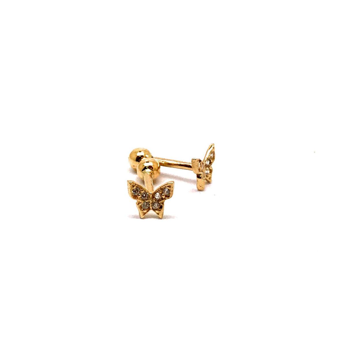 Piercing Borboleta Com Pedras De Zircônia Brilhantes 25719 k035