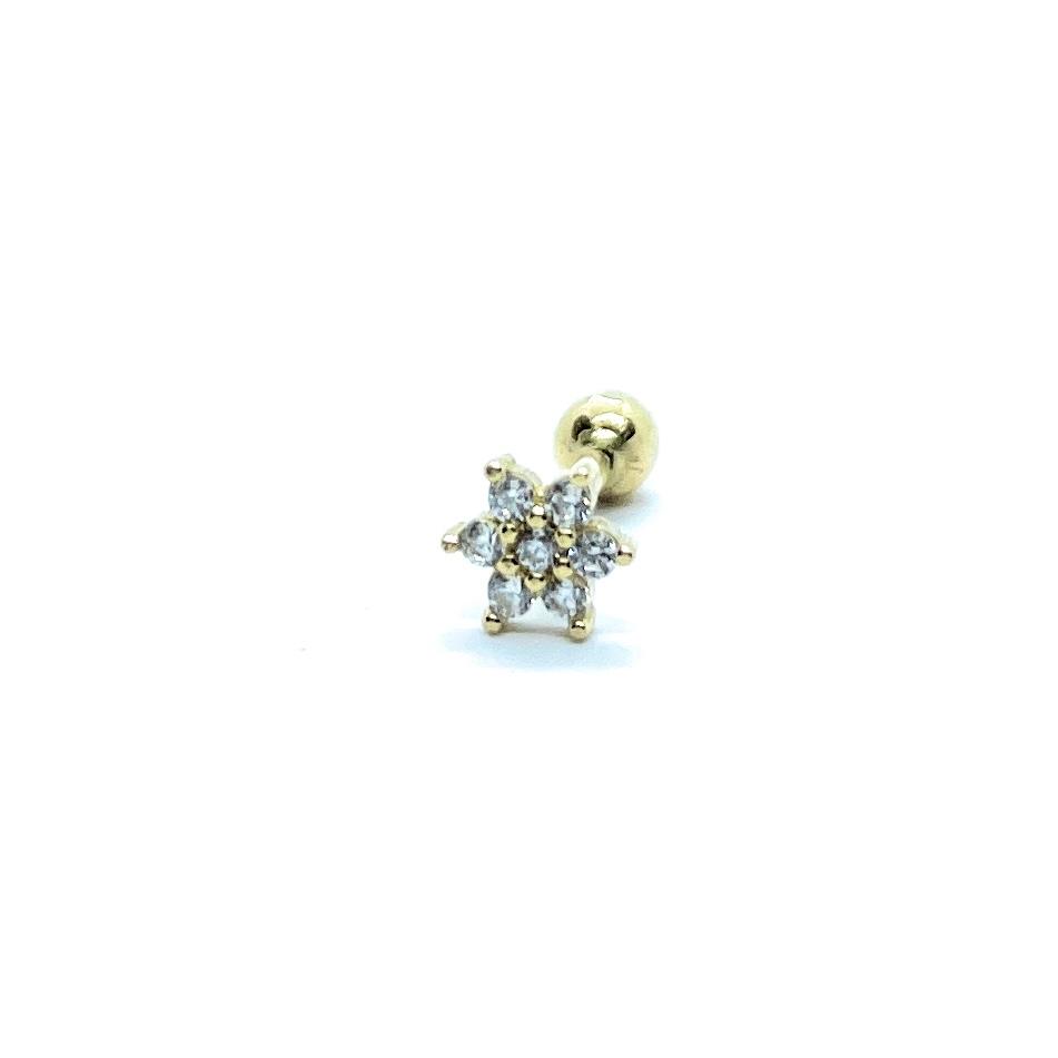 Piercing Florzinha Brilhantes De Zircônia 5 Milimetros Ouro 18K 25782 K045