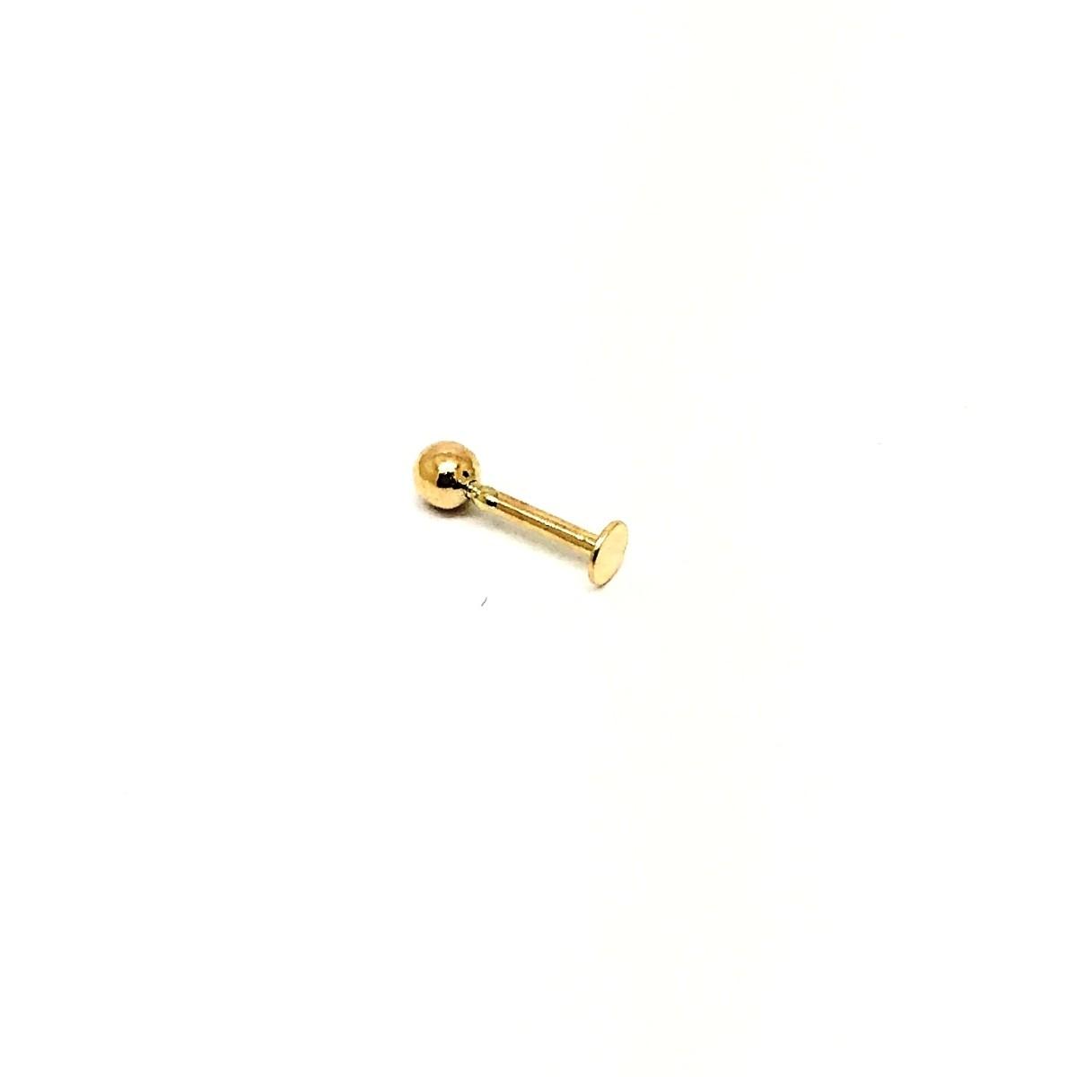 Piercing Labret Bolinha Placa 3 Milimetros Ouro 18K Lto K025 25721