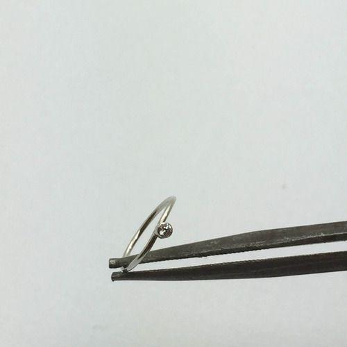 Piercing Nariz Argola Ponto De Luz Zircônia Brilhante em Ouro Branco 18K 35720