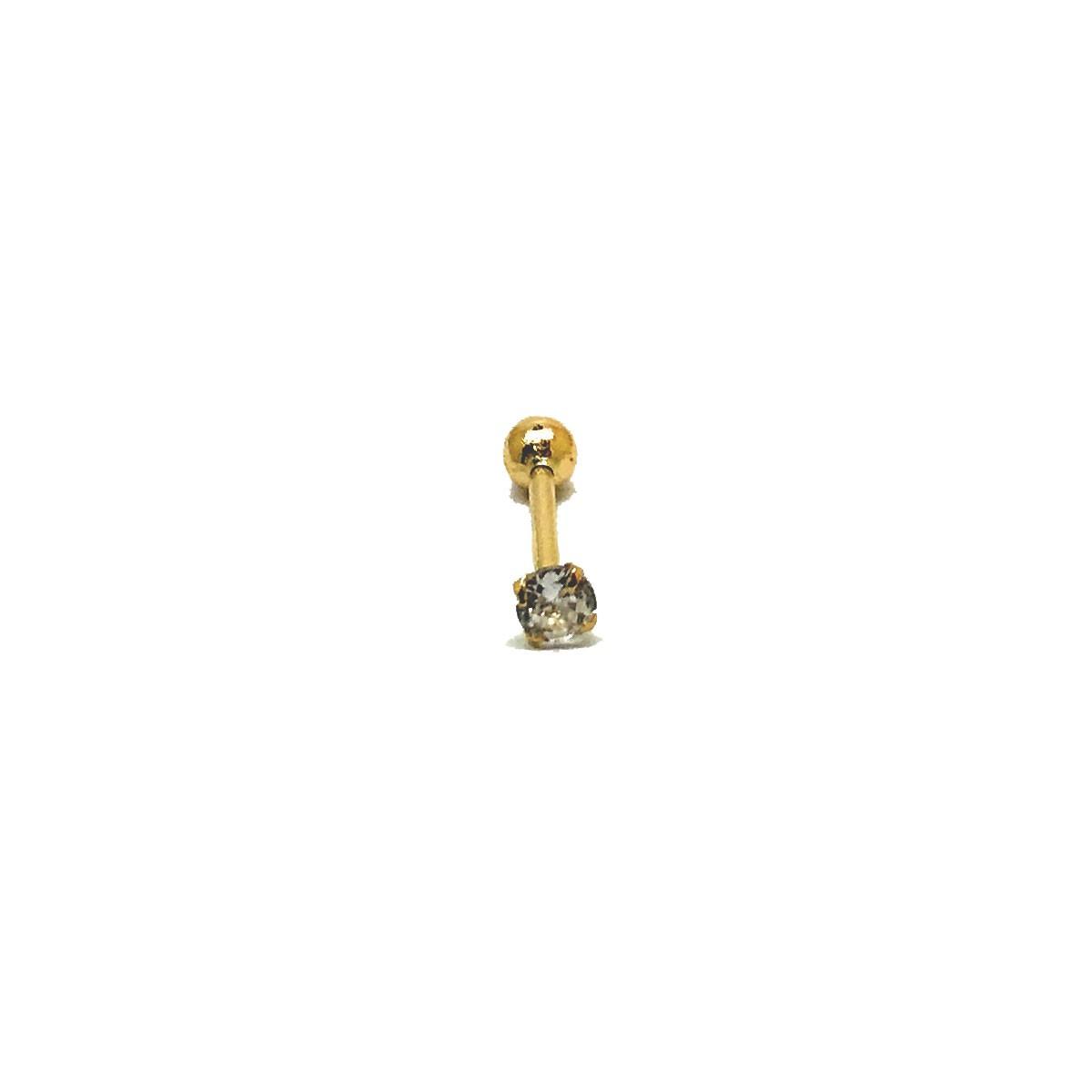 Piercing Ouro 18K Ponto De Luz Cartilagem Haste 8 Milimetros 25789 K035