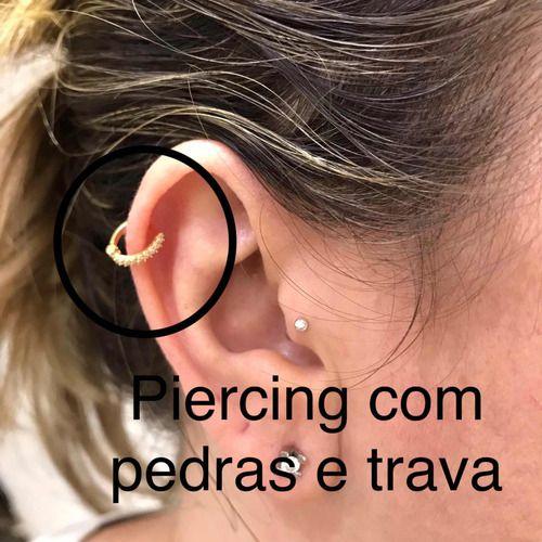 Piercing Ouro 18K Trava Argola Cartilagem 9 Pedras Brancas
