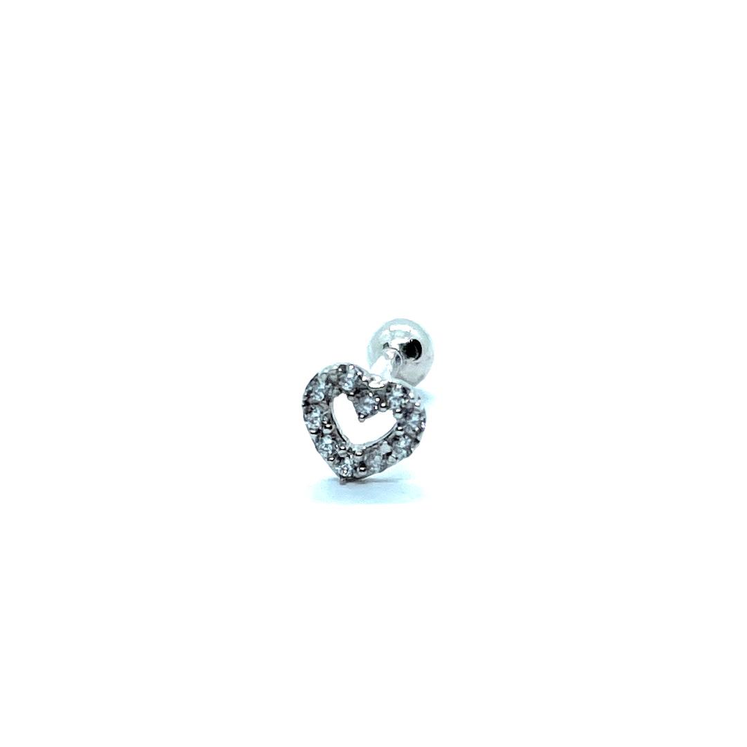 Piercing Ouro Branco 18K Coração Zircônias Tragus Helix Cartilagem 23275 k050