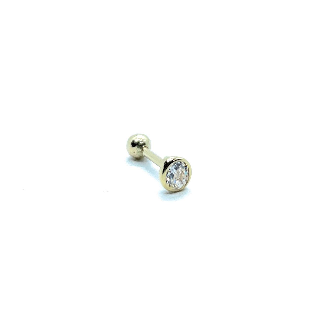 Piercing Ponto De Luz Cravação Inglesa 4 Milimetros Cartilagem Trágus Ouro 18K 25788