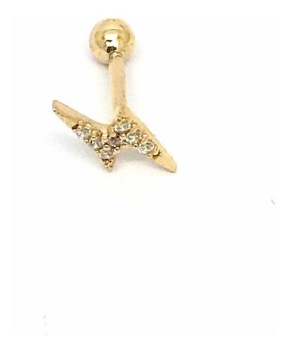 Piercing Raio Ouro 18k Brilho Zircônias Tragus Orelha 25716