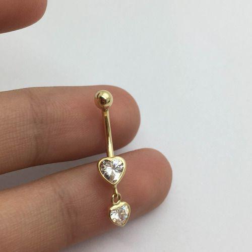 Piercing Umbigo 2 Corações Com Pedra Branca Ouro 18K C206 K095