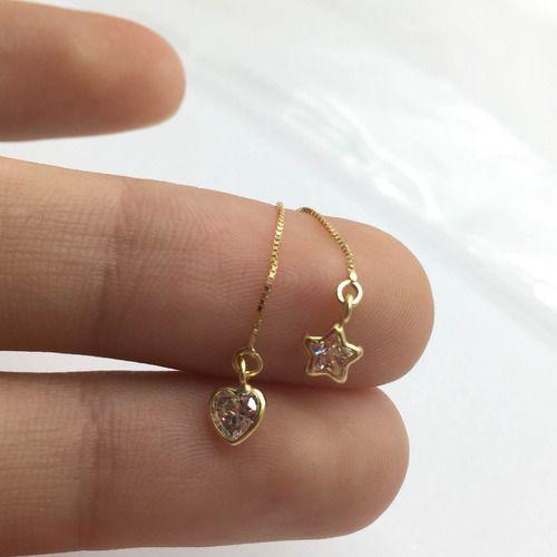 Piercing Umbigo Coração Branco Estrela Pendurado Ouro 18K Co213 K110