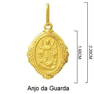 Pingente Anjo Da Guarda Oval Ouro Branco 18K Dmr6 K120