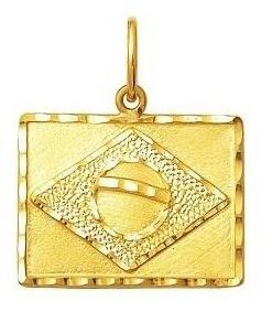 Pingente Bandeira Do Brasil Ouro 18K 09384 K100