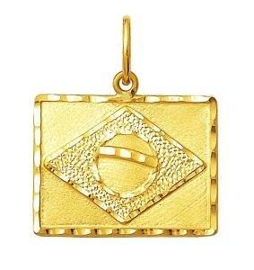 Pingente Bandeira Do Brasil Ouro 18K Grande K160
