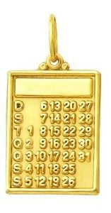 Pingente Calendario Ouro 18K Dnb 23 0 120