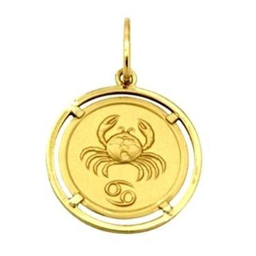 Pingente Câncer Signos Com Aro Em Ouro 18K K1,50