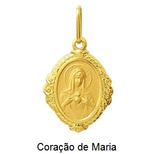 Pingente Coração De Maria Oval Ouro 18K Moldura K110