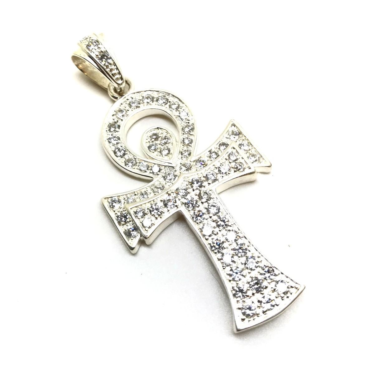 Pingente Cruz Ansata Prata De Lei Brilhante Zircônias 11395