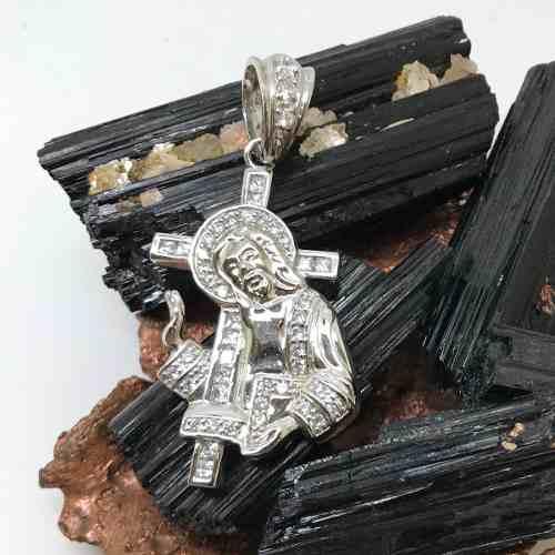 Pingente Cruz Com Cristo Prata De Lei Brilhante Zircônias 11324