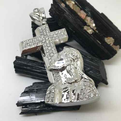 Pingente Cruz E Cristo Prata De Lei Brilhante Zircônias 11313