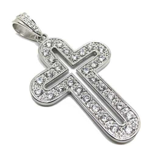Pingente Cruz Ovalada Prata De Lei Brilhante Zircônias 11311