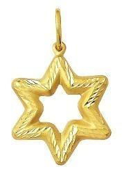 Pingente Estrela 6 Pontas Ouro 18k Vazada Grande K110