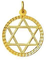 Pingente Estrela De Davi 35mm 6 pontas com aro Em Ouro 18k K560