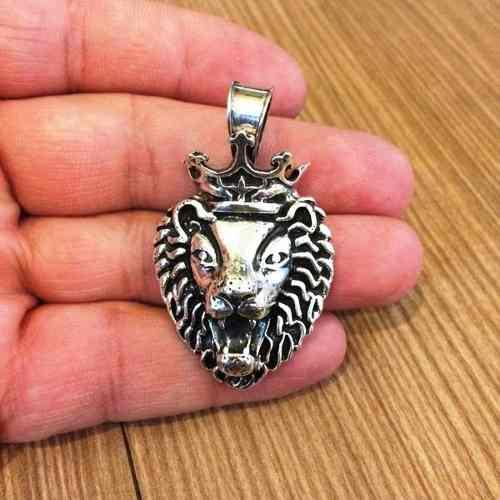 Pingente Leão Rei Coroa Grande Em Prata 20105