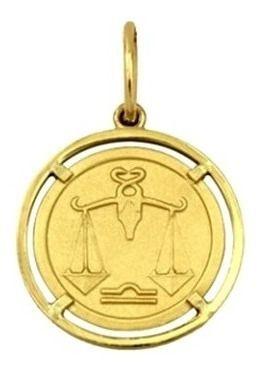 Pingente Libra Signos Com Aro Em Ouro 18K K150