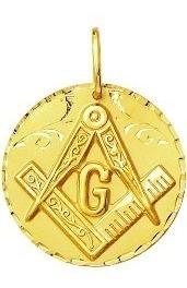 Pingente Maçonaria Genuíno Ouro 18k Grande Redondo k470