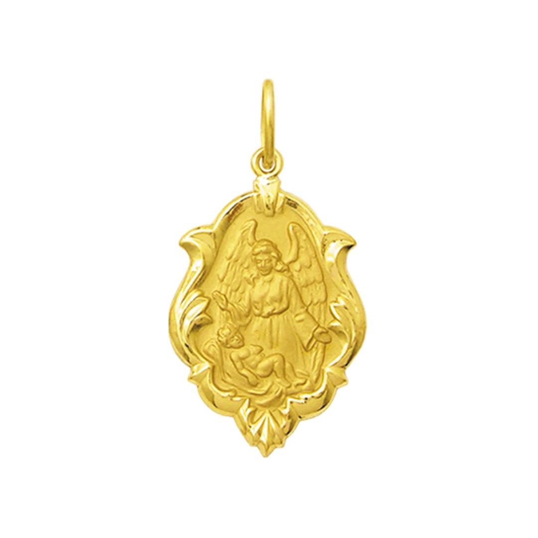 Pingente Medalha Anjo Da Guarda Em Ouro 18K Pequena K070