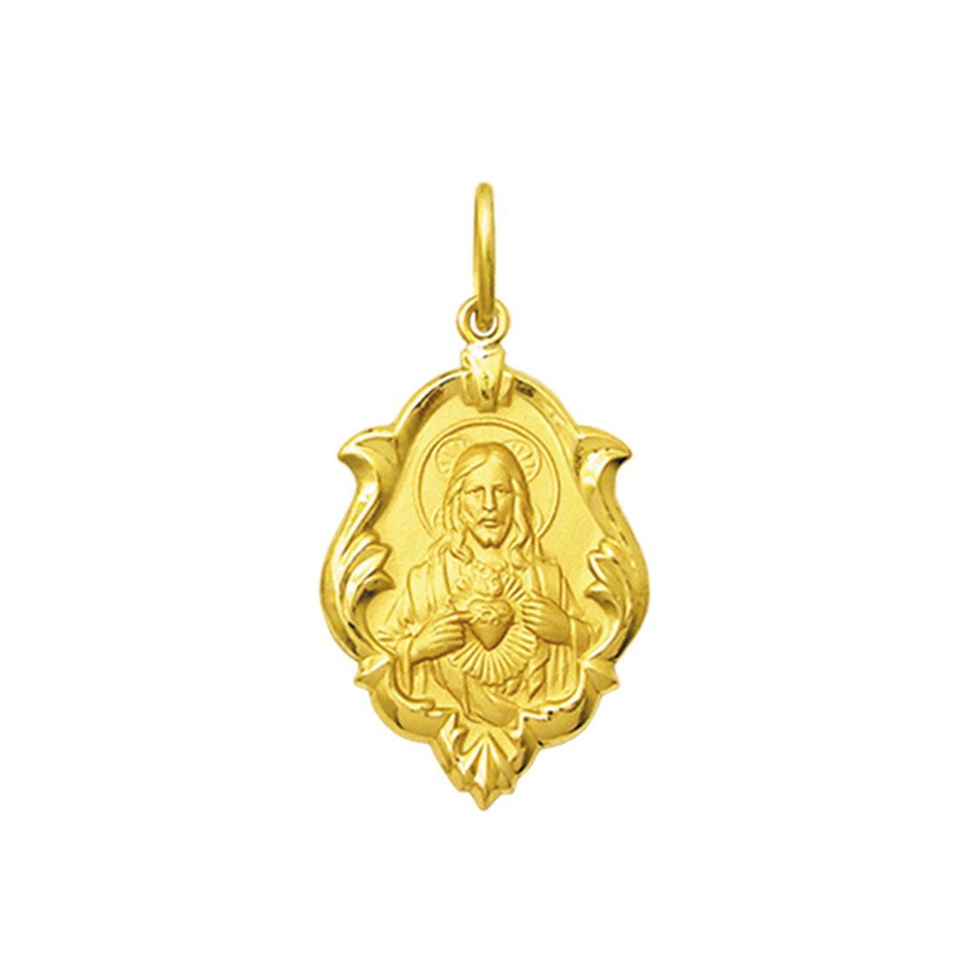 Pingente Medalha Coração De Jesus Em Ouro 18K Ornato Média K130