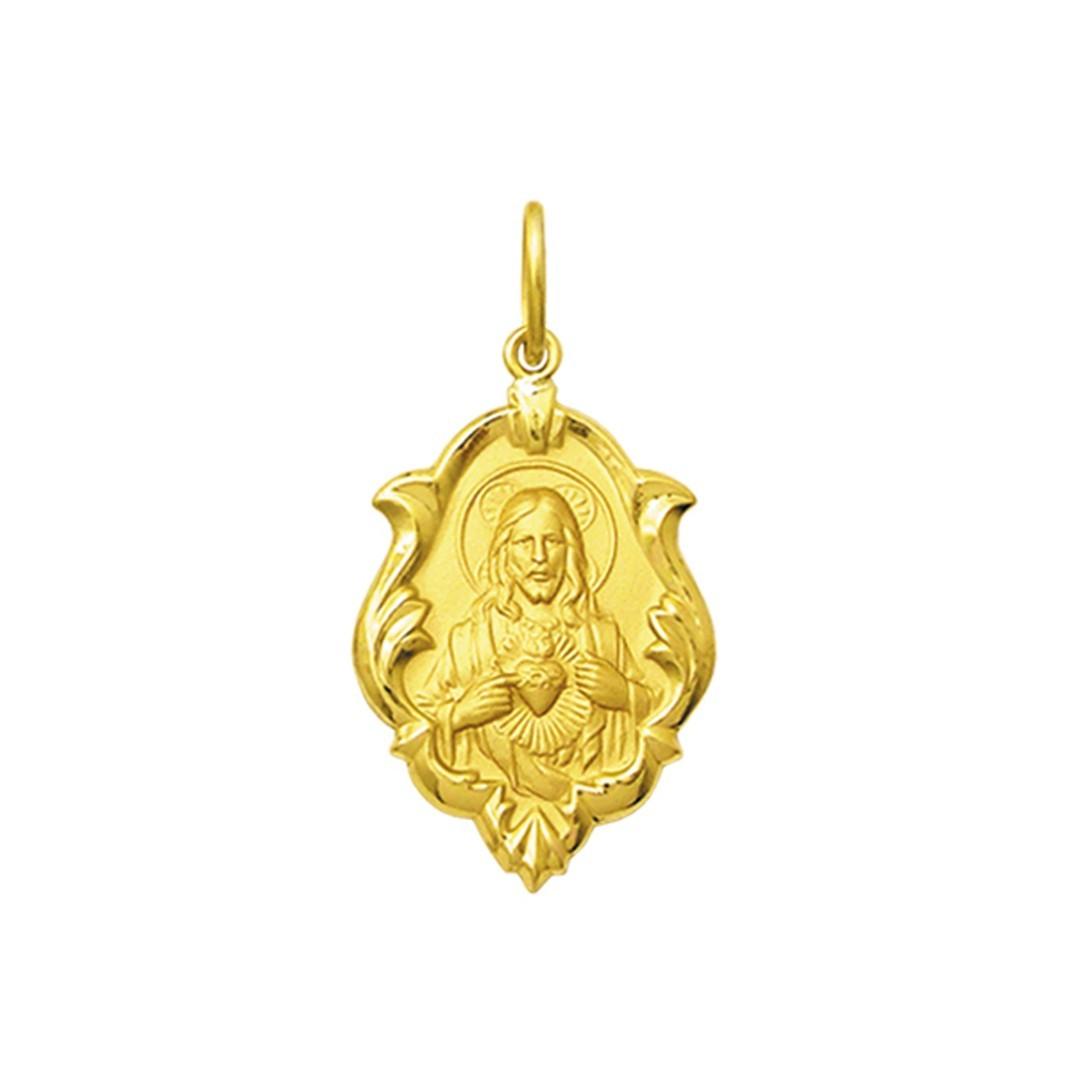 Pingente Medalha Coração De Jesus Em Ouro 18K Ornato Pequena K070