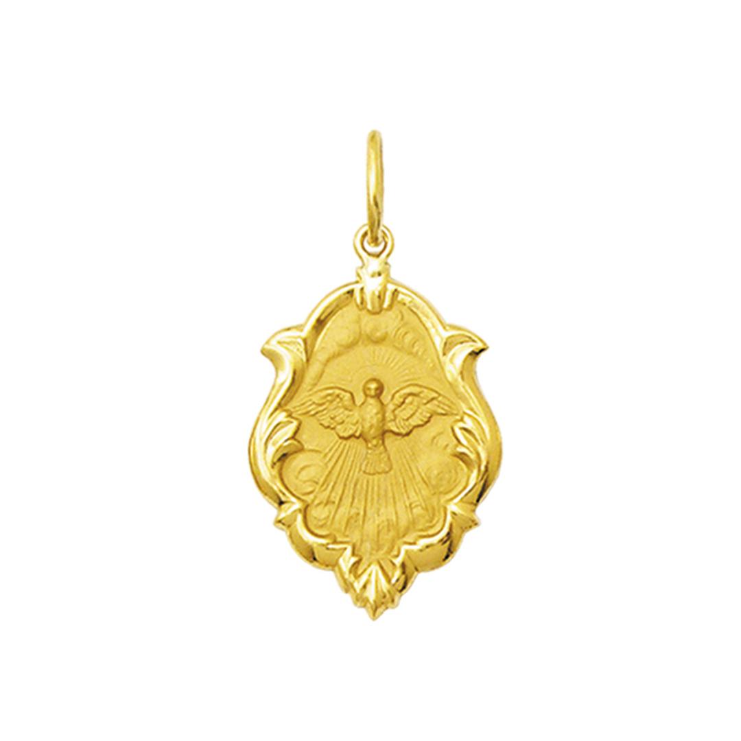 Pingente Medalha Divino Espirito Santo Ouro Ornato Médio K130