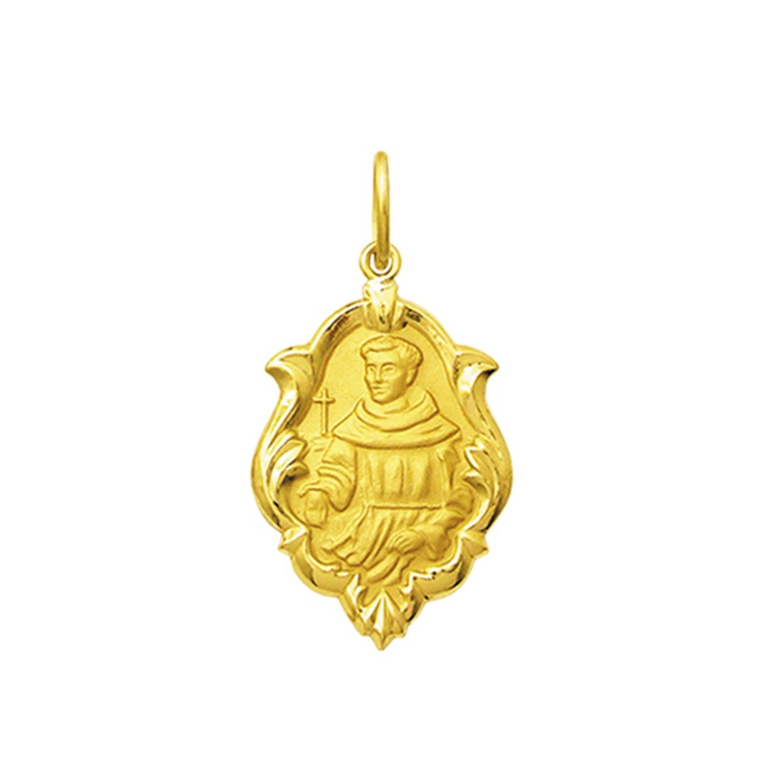 Pingente Medalha Frei Galvão Ouro 18K Ornato Pequeno K070